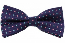 Silk Purple Bow Tie With Pink and Turquoise Dots